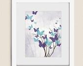 Purple Girls Room Butterfly Wall Art, 11 x 14 Aqua Wall Decor for Home, Tree Art Print, Flying Butterflies Art (226)