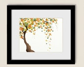 Green Yellow and Orange Watercolor Tree Wall Art 11 x 14  Nature Print, Autumn Tree Art Print, Fall Home Decor (6)