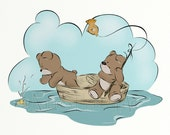 Boys Blue Nursery Wall Art, Fishing Childrens Art Print 8 x 10, Teddy Bear Baby Boys Bedroom Decor (376)