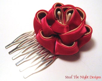 Red and Gold Peony Hair Ornament
