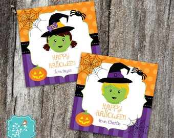 Halloween Tags, Personalized, Printable Tags, Printable Halloween Stickers, Printable Boy Halloween, Printable Girl Halloween, Halloween Tag