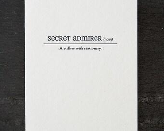 secret admirer definition. letterpress card. #151