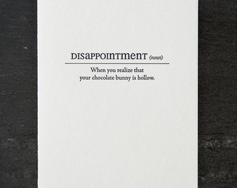 disappoinment definition. letterpress card. #152