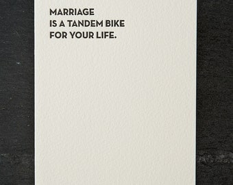 tandem bike. letterpress card. #118