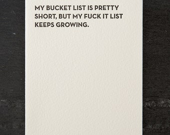 bucket list. letterpress card. #105