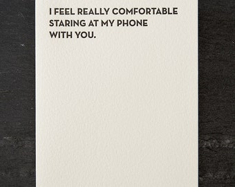 my phone. letterpress card. #107
