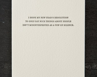 vow of silence. letterpress card. silver envelope. #789