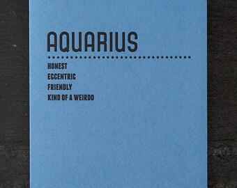 aquarius. letterpress card. #220