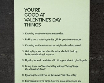 valentines: you're good at things. letterpress card. #389