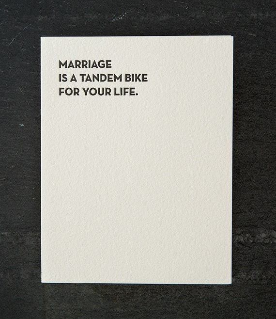tandem bike. letterpress card. #118