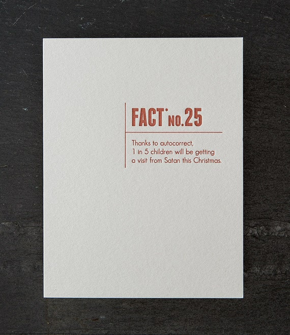 holiday: autocorrect. made up stats. letterpress card. #338