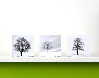 Black and White Lone Trees, Winter White, Minimalism, Nature Photography, Snow, Square Wood Panels, Shelf Art, Ready to Hang
