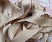 100 % Pure Silk/Satin Double Face  Ribbon Champagne  Color 1  inch wide 6 yard Spool