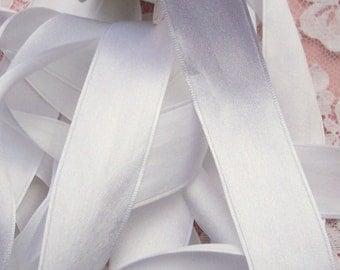 100 % Pure Silk/Satin Double Face  Ribbon Wht. Color 1  inch wide 10 yard Spool