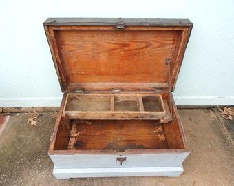 Vintage Trunk Box Coffee Table Storage Organizer Rolling Wheels Worn Blue Paint Hinged Lid