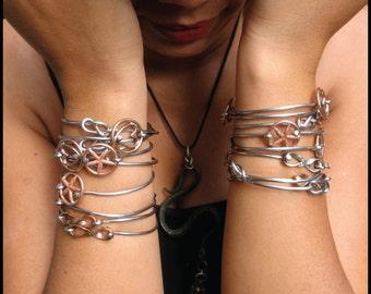 Bicycle Spoke Bracelet Bangle Infinity Knot and Copper Heart Bangle Bracelet