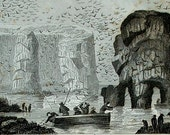 1860, 2 ANTIQUE PRINTS, VOLCANOES, geysers, waterfalls,mountains,fishing,engravings,natural phenomena