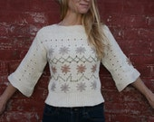Vintage 70s Sweater - S M - Boatneck - Bell Sleeves - Cropped - Floral Embroidery - Hippie