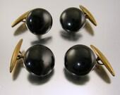 Vintage Black Button Cufflinks Two Pairs