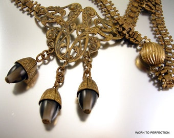 Victorian Revival Necklace Brass Gray Glass Dangles