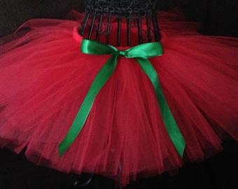 Red Christmas tutu- red tutu- Christmas tutu- Red and green tutu- Red toddler tutu- Holiday outfit- Christmas tutus- Red tutu baby