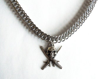 Skull necklace, Skull with swords, Pirate necklace, Silver skull jewelry, Unisex skull necklace, Chainmaille jewelry, Half persian 3-in-1