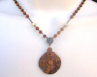 Wood Rosary Necklace Religious Assemblage Jerusalem Cross
