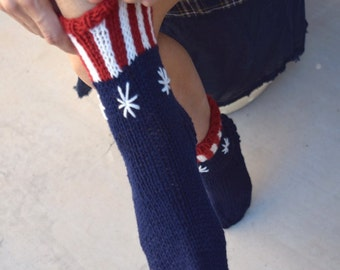 Knit socks red white blue gift for her girls socks women socks handknit Americana USA