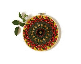 Large hoop art boho scarf embroidered red gold olive green