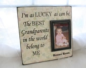 "Picture Frame The Best Grandparents in the World belong to Me 12""X12"" -Wall Mounted-holds 4x6 photo Grandparent's gift"