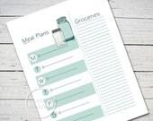Blue Mason Jar Weekly Meal Planner - Instant Printable