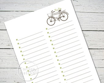 Bicycle To-Do List Instant Printable - 8.5x11