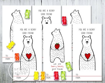 Berry Beary Valentine Card Printable - Kids Friends 6 per page