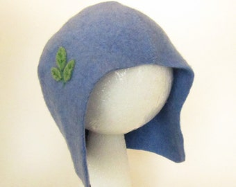 Infant Lambswool Hat, Blue with Green Leaves, size 6 to 12 months