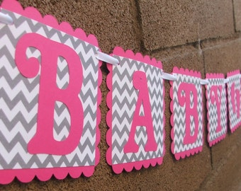 BABY SHOWER - Pink & Gray Chevron Banner with Footprints - Baby Shower Banner - Chevron Baby Shower Decoration