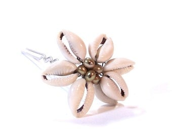 Cowrie Shell Hair Stick with Fresh Water Pearls
