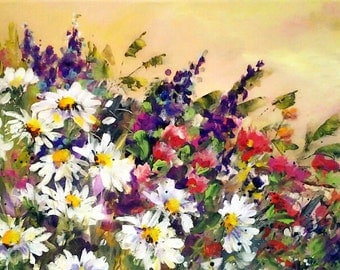 DAISIES AND WILDFLOWERS..........12X24 original worked in acrylics on canvas, ready for you to frame.........rich colors..........