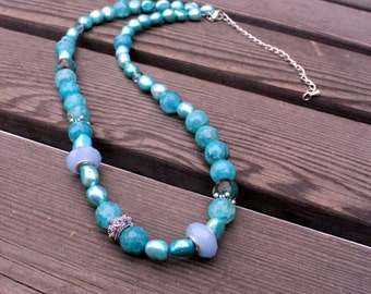 Long necklace -Glass bead, Agate beads, Agate necklace, Freshwater pearls, Stone beads, Stone necklace, Agate jewelry, Statement necklace