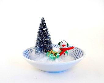 Snowman, Miniature Snowman, Christmas Decoration, Home Decor, Christmas Decor, Holiday, Tabletop, Christmas Tabletop, Office, Kitsch,Diorama