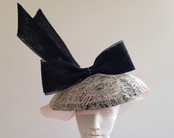 Piggy - Striking Black,Ivory and pink large dior-esque saucer hat Great for the races, Ascot or a wedding