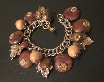 Vintage Fall Charm Bracelet with Wood Beads and Metal Leaves