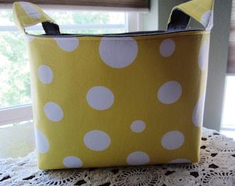 Fabric Organizer Storage Container - Large Polka Dots Yellow Basket Bin Caddy Storage