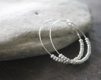 Wicker Park Bright .925 Sterling Silver 1.5 Inch Hoops with Sterling Silver Thai Beads - Large