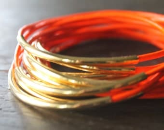 West End Bright Orange Leather Bracelet Bangles with Long Gold Tube Bead Accents  - Wild 1980's Party Love