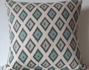 Pillow Cover -Natural - Blue - Ikat - Diamonds  shape - Carnival Village Blue print - Decorative - Cushion Cover