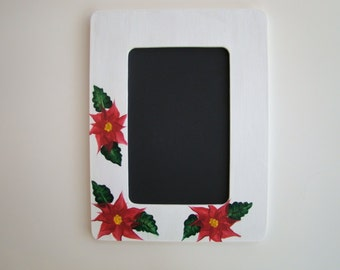 Christmas Frame - Poinsettia Frame - Holiday Frame, Hand Painted, Red, White -  4x6 Frame