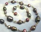 Pearl Bead Chain Blue Fresh Water Pearl Beads 15 inches Wire Wrapped in Sterling Silver