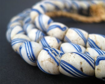 63 Old Trade Beads - Antique Great Lake Beads - African Trade Beads - Jewelry Making Supplies - Made in West Africa ** (PB-OVL-BLU-41)