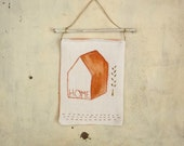 wall hanging tapestry with home and tree hand painted in white cotton fabric - textile art -