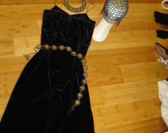 Costume Egypt  Cleopatra black velour  dress beaded wig hat sz S M women Halloween